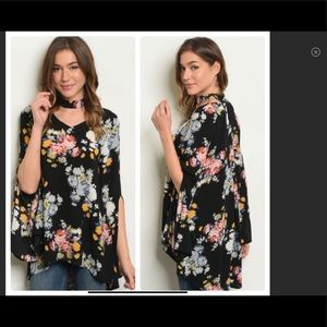 Just In Boho Black Floral Choker Style flowy top
